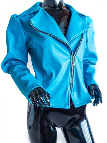 Ride Bike! Petrol Power – Petrol Blue Faux Leather Jacket Bikerstyle