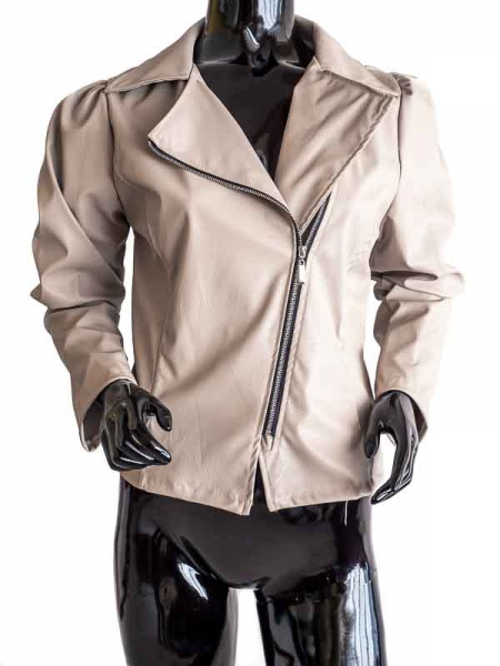 Ride Bike! Beige – Beige Faux Leather Jacket Bikerstyle