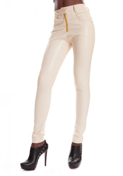 Leder Jeans Weiß ESTELLE VANILLA