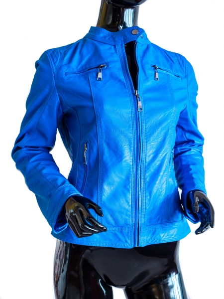 Ride Bike! Classic Blau - Blaue Kunstlederjacke Bikerstyle