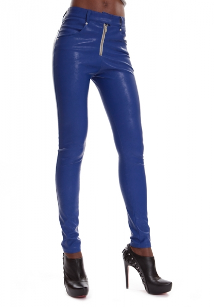 Leather Jeans Blue ESTELLE STEEL