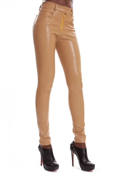 Leather Jeans Brown ESTELLE CARAMELLE