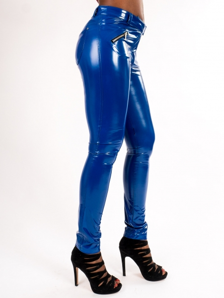 SUPERSHINE! ROYAL - Vinyl Jeggings Blau