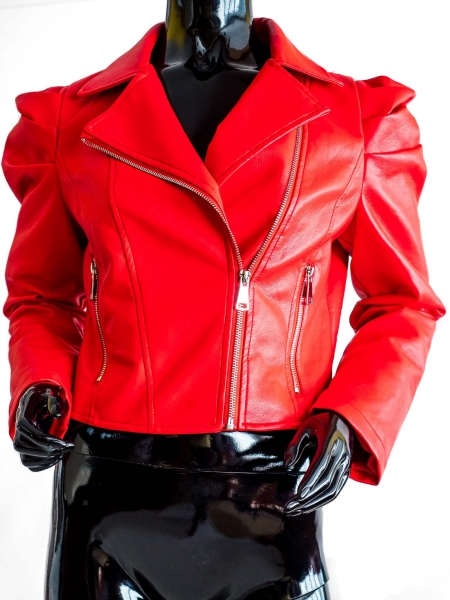 Ride Bike! Red – Red Faux Lether Jacket Bikerstyle