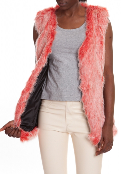 Fur Vest Coral Red MAMBO CORAL