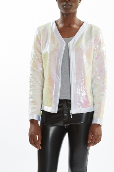 Sequin Jacket PEARL CHAMPAGNE