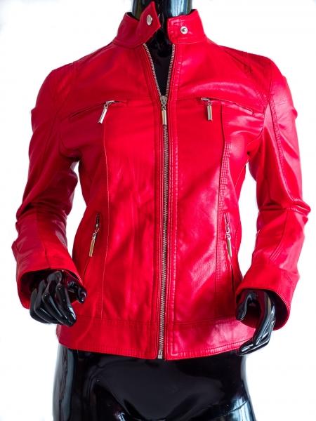 Ride Bike! Classic Rot - Rote Kunstlederjacke Bikerstyle