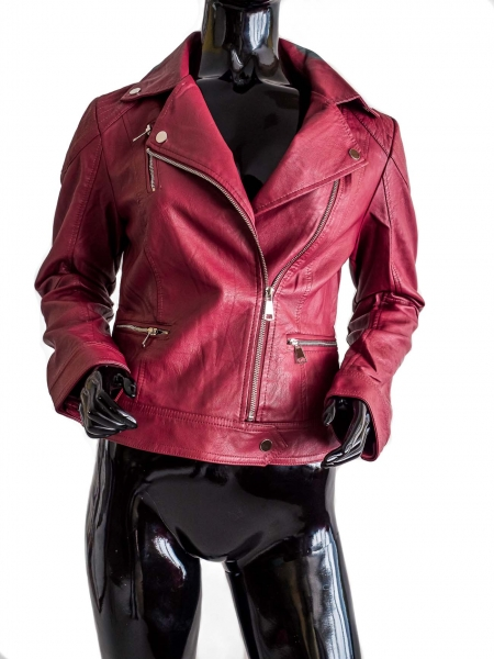 Ride Bike! Burgy – Burgundy Red Faux Leather Jacket Bikerstyle