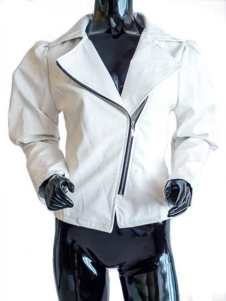 Ride Bike! Innocent – White Faux Leather Jacket Bikerstyle