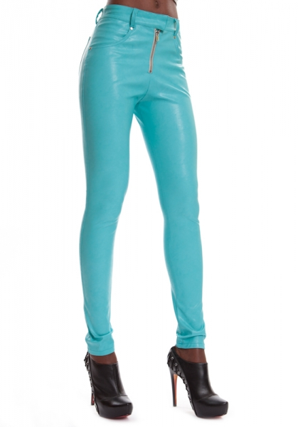 Leather Jeans - ESTELLE TURQUOISE